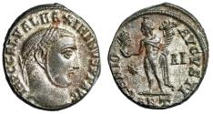 "Ancient Coins - Maximinus II Daia Silvered Follis ""GENIO AVGVSTI Genius, Head of Sol"" Antioch EF"
