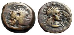 """Ancient Coins - Ptolemaic Kingdom of Egypt: Ptolemy III Euergetes AE16 """"Head of Libya"""" Good Fine"""