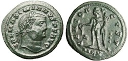 "Ancient Coins - Galerius AE Follis ""Genius, Three Pellets"" Cyzicus RIC 65 Green Patina"