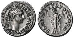 "Ancient Coins - Trajan AR Denarius ""Excellent Portrait / Pax"" Good VF Attractively Toned"
