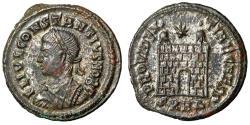 """Ancient Coins - Constantius II Caesar AE19 """"PROVIDENTIAE CAESS Camp Gate"""" Heraclea 78 VF"""