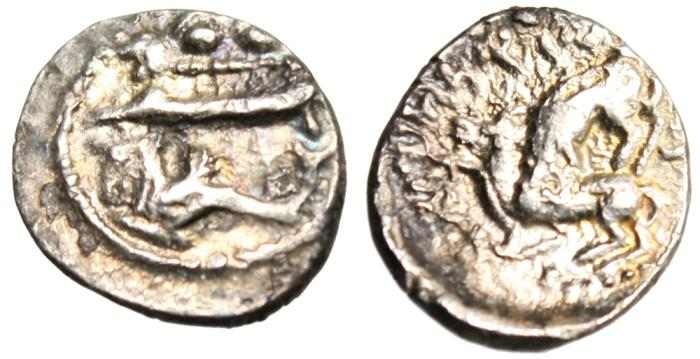 "Ancient Coins - Phoenicia, Byblos Silver AR 1/16 Shekel (Obol) ""Galley / Lion Attacking Bull"""