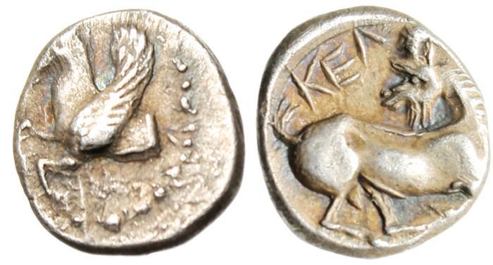 "Ancient Coins - Cilicia, Kelenderis Silver AR Obol ""Pegasos Left & Goat Kneeling"" EF Very Rare"