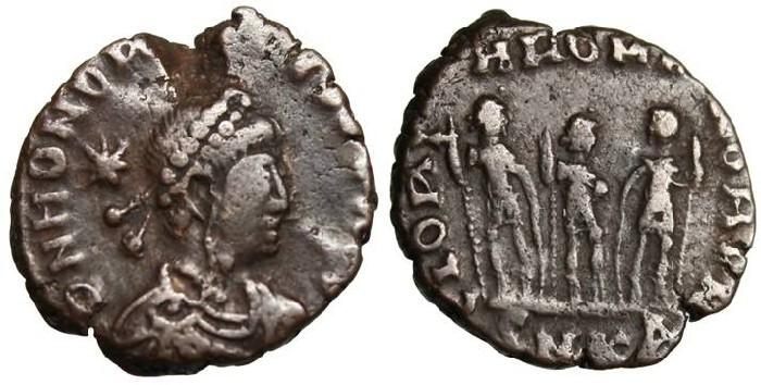 """Ancient Coins - Honorius AE4 """"GLORIA ROMANORVM """"Between Arcadius & Theodosius II"""" Cyzicus"""