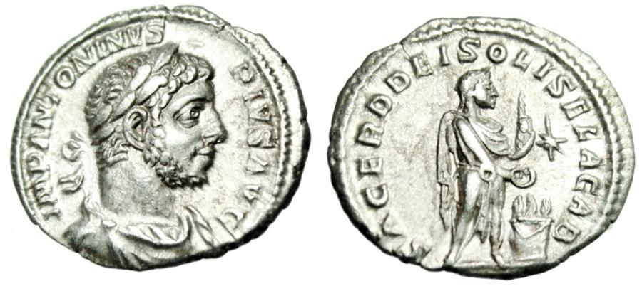 """Ancient Coins - Elagabalus Silver Denarius """"SACERD DEI SOLIS ELAGAB Altar"""" Rome RIC 131 Near EF"""