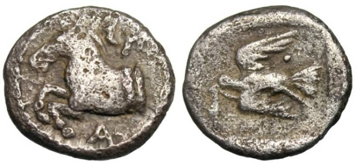 "Ancient Coins - King of Thrace: Sparadokos AR Diobol ""Forepart Horse & Eagle Flying"" Scarce VF"