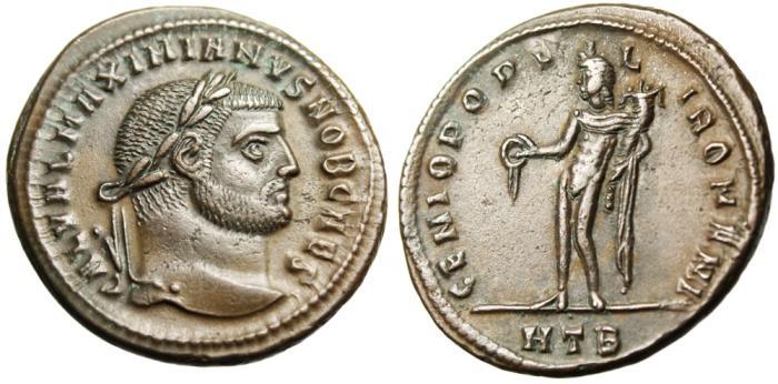 """Ancient Coins - Galerius AE Follis """"Genius HTB"""" Heraclea RIC 20b nEF"""