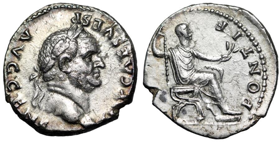 "Ancient Coins - Vespasian AR Denarius ""PONTIF MAXIM Seated"" Rome 73 AD About EF"