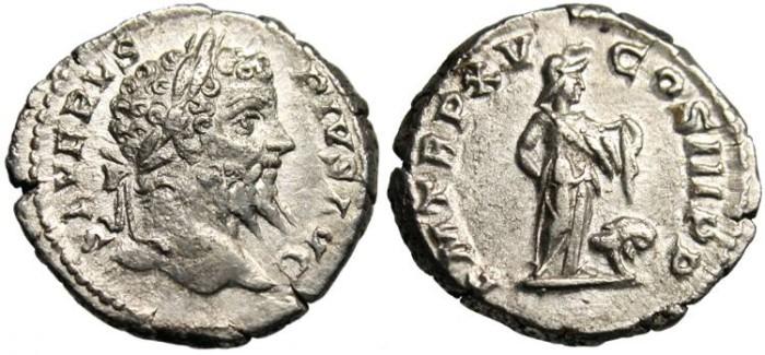 """Ancient Coins - Septimius Severus, AR Denarius """"Africa & Lion"""" RIC 206 RSC 493"""