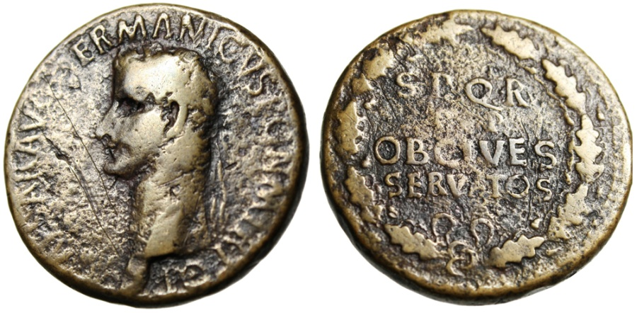 """Ancient Coins - Caligula AE Sestertius """"SPQR PP OB CIVES SERVATOS in Oak Wreath"""" RIC 53 Rare"""
