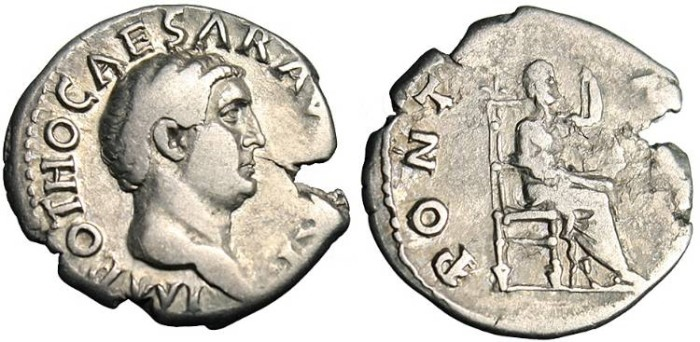 "Ancient Coins - Otho, AR Denarius ""Jupiter Seated"" RIC 22 Very Rare"