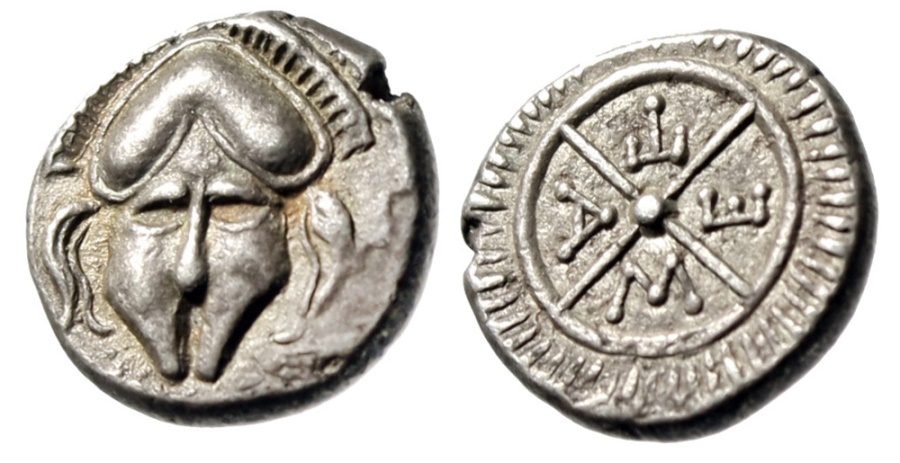 "Ancient Coins - Thrace, Mesembria AR Diobol ""Corinthian Helmet Facing & META Wheel"" EF"