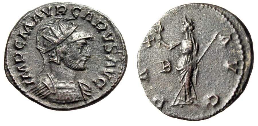 "Ancient Coins - Carus AE Antoninianus ""Helmeted & Radiate Bust & Pax"" Rome RIC 13 Scarce gVF"