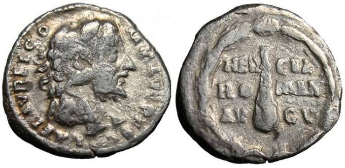 """Ancient Coins - Commodus, AR Denarius """"Hercules Bust & Club"""" RIC 251 nVF"""