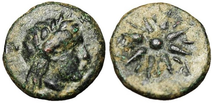 "Ancient Coins - Mysia, Gambrion AE10 ""Apollo & Star"" VF"
