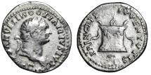"Ancient Coins - Domitian as Caesar AR Denarius ""PRINCEPS IVVENTVTIS Lighted Altar"" 79 AD RIC 266"