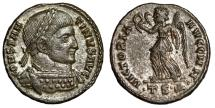"Ancient Coins - Constantine I The Great Silvered AE3 ""VICTORIA AVGG Victory"" Thessalonica  EF"