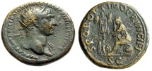 "Ancient Coins - Trajan Dupondius ""Dacia Mourning, Trophy of Arms"" RIC 563 Dacian Captivity VF"