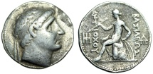 "Ancient Coins - Antiochus I Silver Tetradrachm ""Diademed Bust & Apollo Seated With Arrow & Bow"""