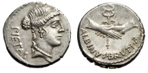 "Albinus Bruti F AR Denarius ""Pietas & Two Clasped hands. Winged Caduceus"" EF"
