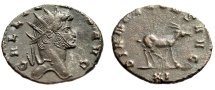 "Ancient Coins - Gallienus AE Antoninianus ""DIANAE CONS AVG Antelope Walking"" RIC 181 Good VF"