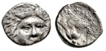 """Ancient Coins - Islands Off Caria, Rhodes AR Drachm """"Helios Facing & Rose With Bud"""" Budget"""