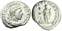 "Ancient Coins - Elagabalus Silver Denarius ""INVICTVS SACERDOS AVG Emperor at Altar"" RIC 88 gVF"