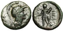 "Ancient Coins - Lucania, Herakleia AE15 ""Athena & Herakles"" BMC 59 Rare VF Nice Green Patina"