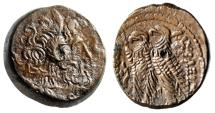 "Ancient Coins - Ptolemaic Ptolemy IX to XII AE20 ""Zeus Ammon & Two Eagles, Cornucopia"" EF"