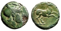 """Ancient Coins - Thessaly, Scotussa AE17 """"Ares (Or Athena) & Horse Prancing""""  Green Rare"""