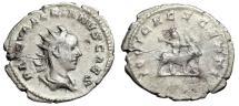 "Ancient Coins - Valerian II AR Antoninainus ""IOVI CRESCENTI Child Jupiter on Goat"" Rome RIC 13"
