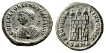 """Ancient Coins - Constantine II Silvered AE18 """"PROVIDENTIAE CAESS Campgate"""" Heraclea RIC 46 Rare"""