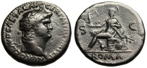 """Ancient Coins - Nero AE Sestertius """"Roma Seated on Arms"""" Rome RIC 275 VF"""