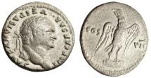 """Ancient Coins - Vespasian Silver Denarius """"COS VII Eagle on Cippus"""" Rome 76 AD RIC 99"""