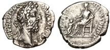 "Ancient Coins - Commodus Silver Denarius ""Pietas Seated, Child Standing Before"" Rome RIC 236 VF"