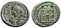 """Ancient Coins - Constantius II Caesar AE19 """"PROVIDENTIAE CAESS Campgate"""" Trier 326 AD RIC 480 EF"""