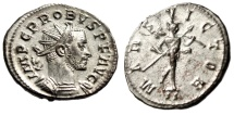 "Ancient Coins - Probus Silvered Antoninianus ""MARS VICTOR Mars, Spear & Trophy"" Lyons RIC 84 EF"