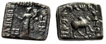 "Ancient Coins - Baktria Kingdom: Philoxenos AE Square Hemiobol ""City Goddess & Bull"""