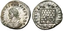 """Ancient Coins - aEF Constantius II Caesar AE3 """"Campgate"""" Cyzicus RIC 38"""