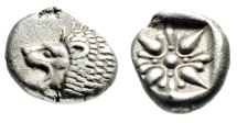 """Ancient Coins - Ionia, Miletos Silver Diobol """"Forepart Lion & Stellate Pattern"""" 6th Cent BC aEF"""