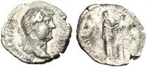 "Ancient Coins - Hadrian Silver Denarius ""Salus Feeding Snake at Altar"" Rome 137 AD RIC 267"