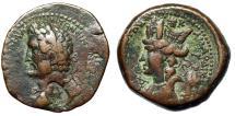 "Ancient Coins - Antoninus Pius AE26 of Laodicea ad Mare ""Countermark; Female Bust & Tyche"""