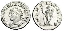 "Ancient Coins - Philip I Silver Antoninianus ""Bust Left & Felicitas"" Antioch RIC 76 Rare aEF"