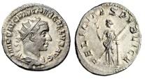 """Ancient Coins - Trebonianus Gallus Silver Ant. """"FELICITAS PVBLICA Felicitas"""" RIC 34a Scarce gEF"""