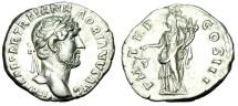 "Ancient Coins - Hadrian Silver Denarius ""Aequitas With Scales"" Rome 119-122 AD RIC 80 Near EF"