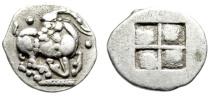 "Ancient Coins - Thraco-Macedonian Tribes, Mygdones or Krestones AR Diobol ""Kneeling Goat"" EF"