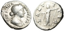 "Ancient Coins - Faustina II Silver Denarius ""Laetitia With Wreath & Scepter"" Rome RIC 700"
