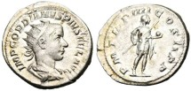 """Ancient Coins - EF Gordian III Silver AR Ant. """"Holding Globe & Spear"""" RIC 92"""