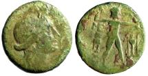"Ancient Coins - Messenia, Messene AE Hexachalkon ""Demeter & Zeus Soter, Tripod"" Scarce Green"