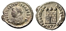 "Ancient Coins - Crispus Silvered AE3 ""PROVIDENTIAE CAESS Campgate"" Heraclea RIC 18 aEF"